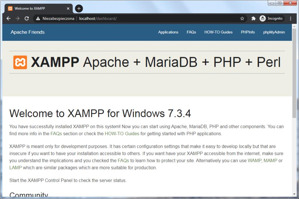 XAMPP-owy Dashboard dostępny po przejściu pod adres http://localhost/dashboard